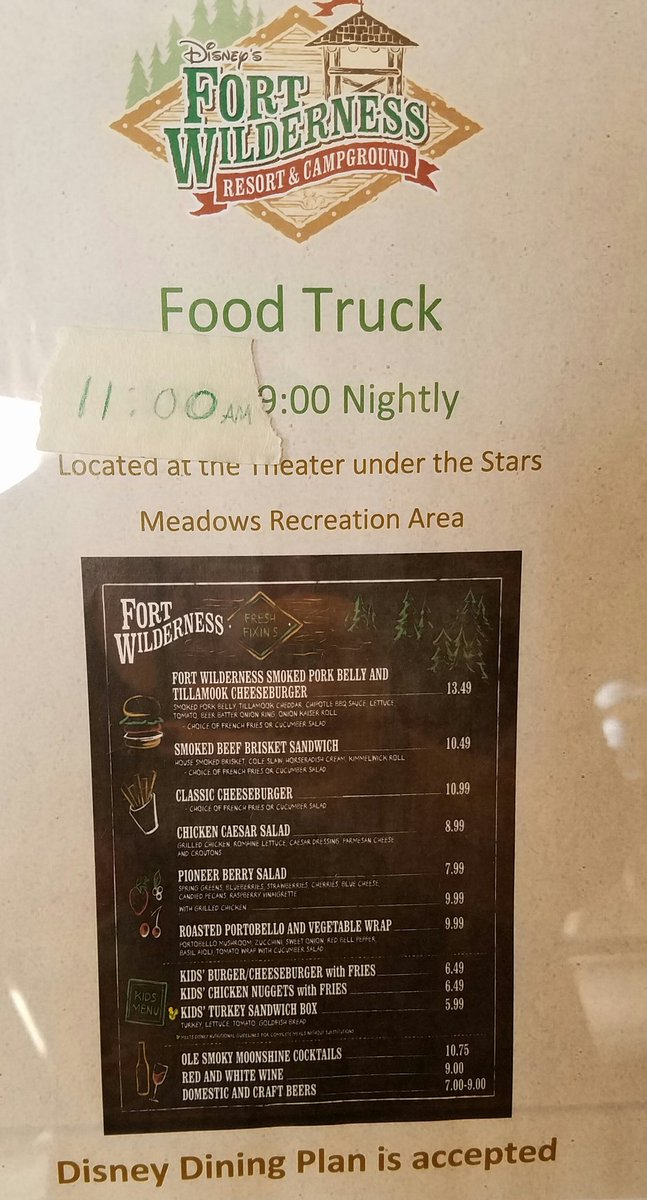 Fort Wilderness Food Truck Menu Walt Disney World The