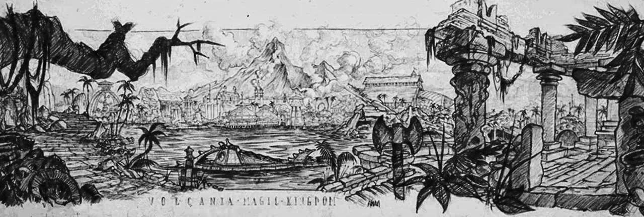 Original concept art for the Volcano coaster, dating back to the 1970s.