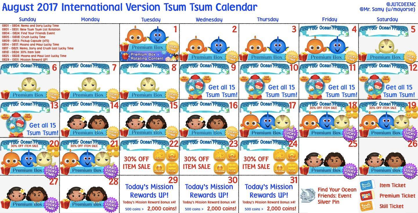 Tsum Tsum February 2019 Calendar finding dory disney tsum tsum august 2017event calendar | The