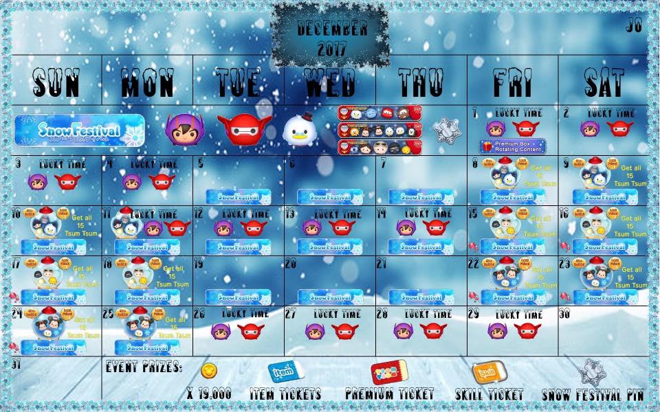 Tsum Tsum December 2019 Calendar December 2017 Disney Tsum Tsum Event Calendar Posted   The Kingdom