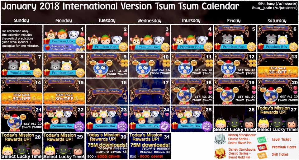 Tsum Tsum February 2019 Calendar january 2018 disney tsum tsum event calendar | The Kingdom Insider