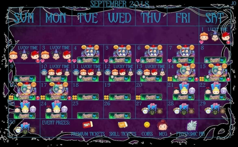 September 2018 Disney Tsum Tsum Event Calendar (International)