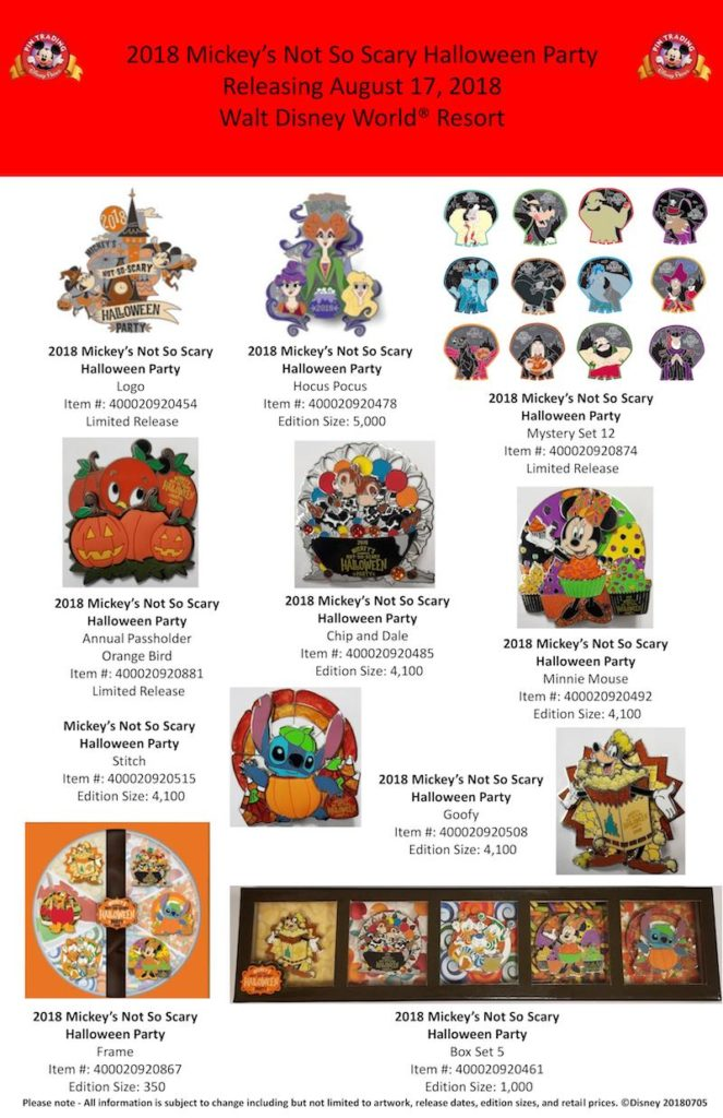 Mickeys Halloween Party Annual Passholder Pins 2020 2018 Mickey's Not So Scary Halloween Party Disney Trading Pins