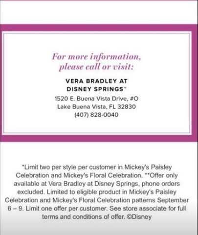 Mickey s Paisley Celebration and Mickey s Floral Celebration. We also learn  that this initial offer is only at the Vera Bradley store ... 0ddf7c9695787