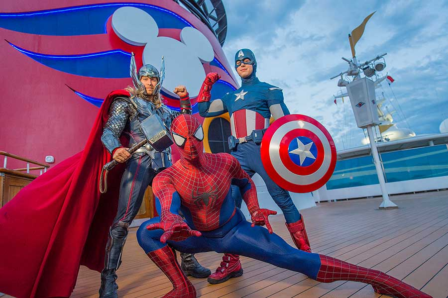 Marvel Day at Sea with characters like Thor, Captain America, and Spiderman.