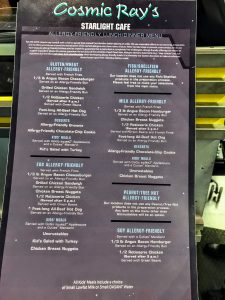 Cosmic Ray's Starlight Cafe in Magic Kingdom as an allergy-friendly menu for guests at Disney with food allergies.