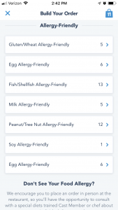 The allergy-friendly menu is broken up into 7 sections - simplifying the process for guests at Disney with food allergies.