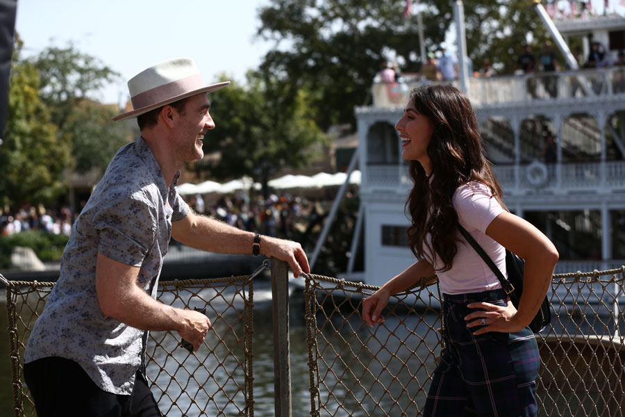 """Dancing with the Stars"" contestant actor James Van Der Beek, and his partner, professional dancer Emma Slater, discuss their upcoming Paso in Frontierland at Disneyland park."