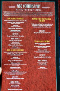 Allergy-friendly menu at Disney World found at ABC Commissary at Disney's Hollywood Studios
