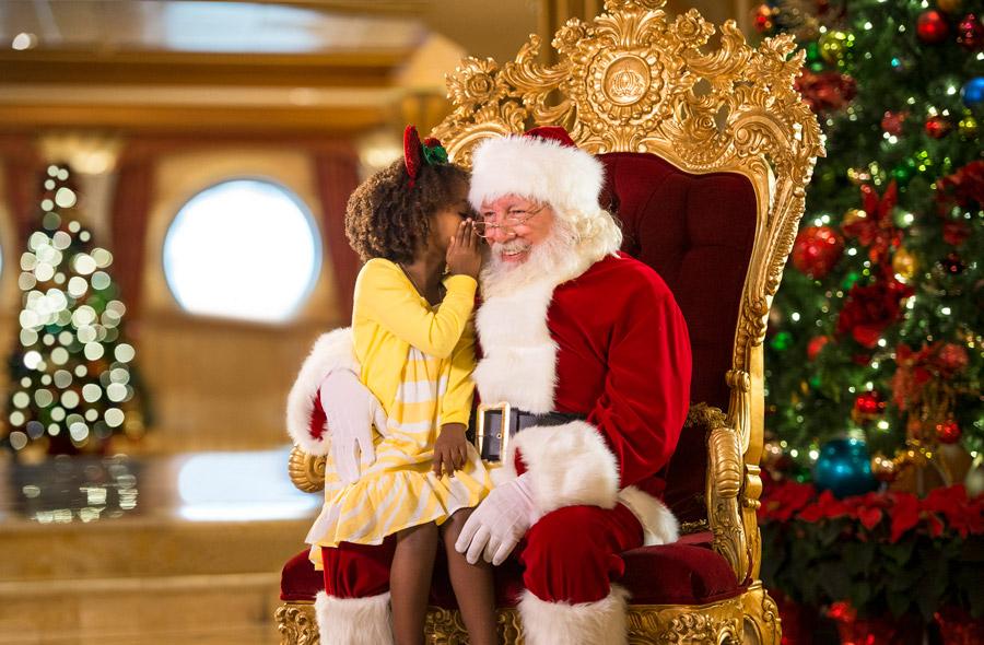 Child meets Santa aboard Disney Cruise Line