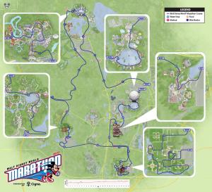 A map of 26.2 miles through Walt Disney World. The 2017 WDW Marathon course.
