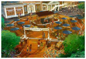 New Restaurants in Disney World - Regal Eagle Smokehouse rendering in Epcot.