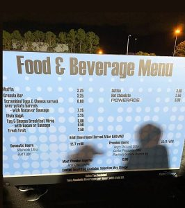 Food and Beverage menu from the start area of Run Disney race. You can buy food to eat at Run Disney races.