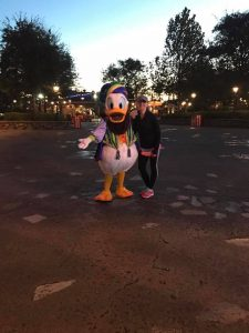 Characters like Donald Duck are available for photopass on the WDW Marathon course.