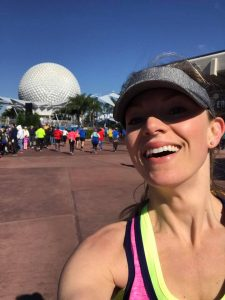 The WDW Marathon course ends in Epcot after Spaceship Earth.