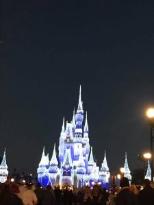 Cinderella's castle covered in Christmas Lights and on the course for the 2017 WDW Marathon.