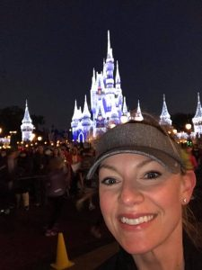 I loved seeing Cinderella's Castle lit up with lights on the 2017 WDW Marathon course!