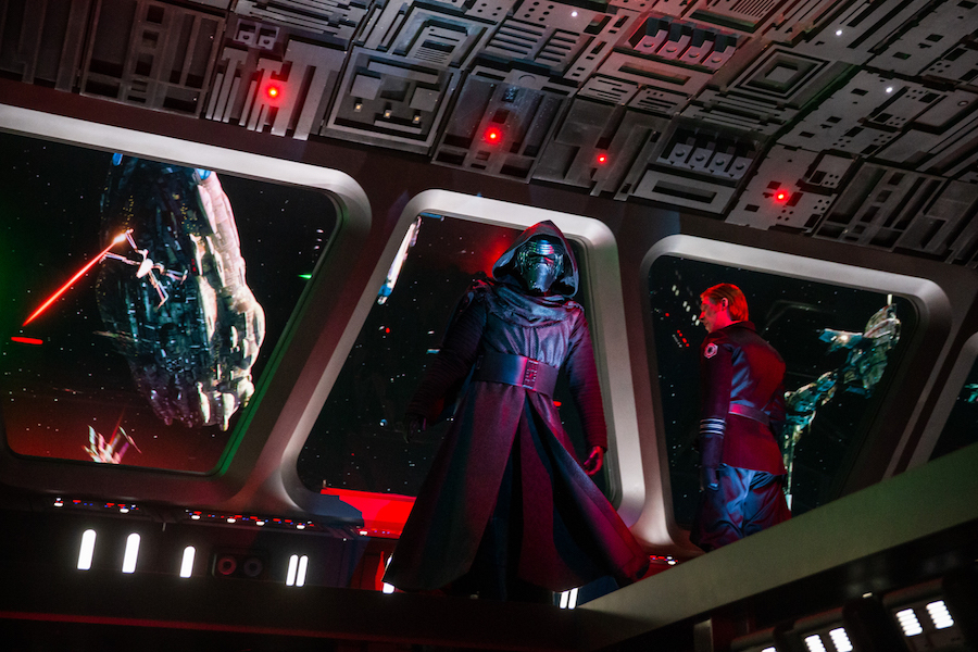 Guests come face to face with First Order Supreme Leader Kylo Ren as they stumble into the bridge of a Star Destroyer in Star Wars: Rise of the Resistance