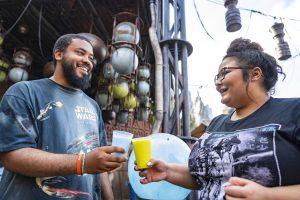 Guests enjoy Star Wars Blue Milk and Green Milk