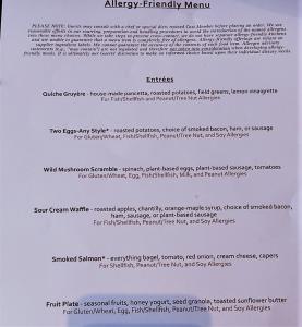 Allergy-friendly menu offerings at Topolino's Terrace