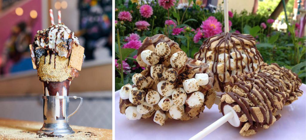 S'mores CrazyShake from Black Tap Craft Burgers & Shakes at Downtown Disney District and Gourmet S'mores Candy Offerings from Marceline's Confectionery and other Candy Shops at Disneyland Resort